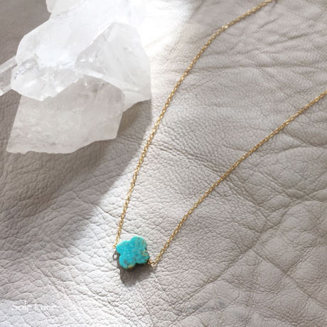 14KGF Flower Shape Turquoiseネックレス