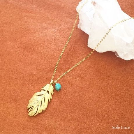 14KGF Feather Charm & Turquoise Necklace