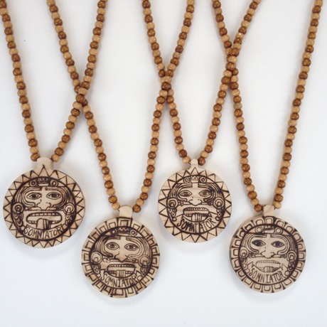 The fifth sun wood necklace