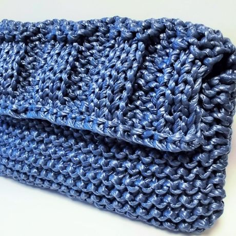 """""""navy"""" knitted rope clutch bag"""