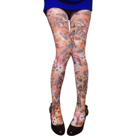 Cat ORG BEG 40デニール print tights