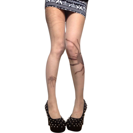 Spider tattoo print tights
