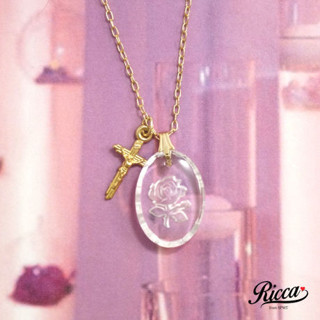cleaer rose oval ネックレス【No.044】