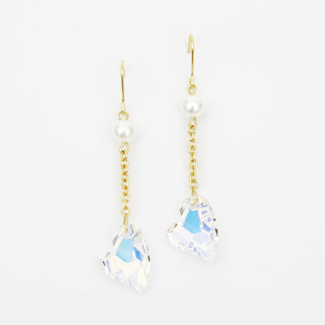 Crystal Heart Pierced Earrings