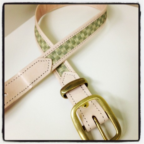 """First lady model Real Leather """"tatami"""" Belt 市松"""