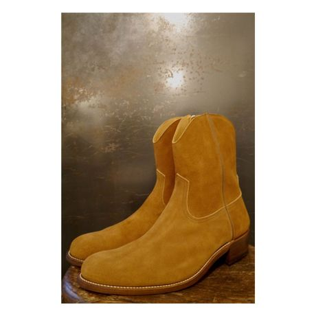 Cow Boy Suede Side Zip Boots.
