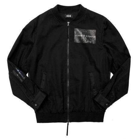 424 SILK BOMBER JACKET (BLACK)