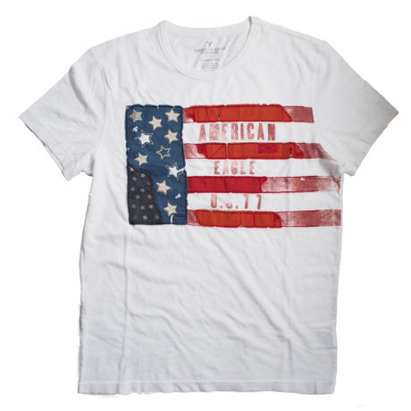 American Eagle Out Fitters Stars and Stripes Banner Graphic T-Shirt
