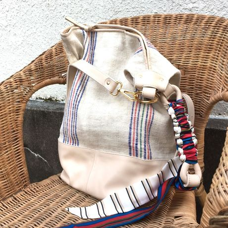 BRADARICOHMAE Hippie Linen Bag with Vintagescarf