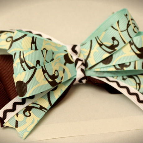 Totes Adorbs Hair Ribbon Accessory Light Emerald and Dark Brown Handmade