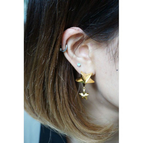 【SALE】BIG STAR×SMALL STUDS EARRING(GOLD) - NaNa-NaNa / ナナナナ