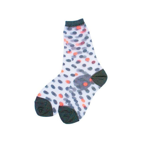 【SALE】[WOMEN]POINT COLOR CLEAR SOCKS (DOT) ORANGE - ANREALAGE / アンリアレイジ