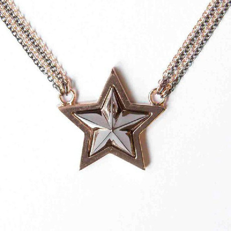 【SALE】Big Star Studs Neckless(PINKGOLD/BLACK) - NaNa-NaNa / ナナナナ