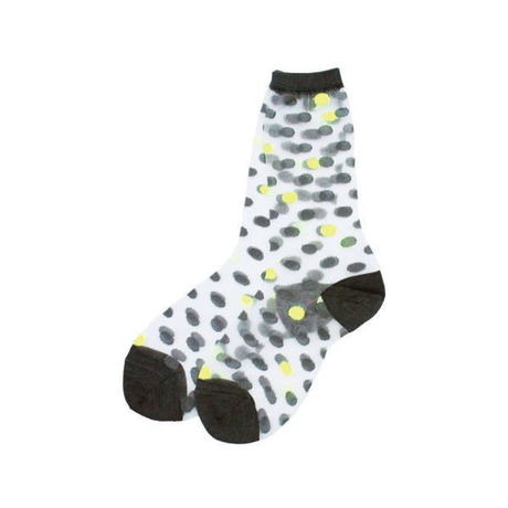 【SALE】[WOMEN]POINT COLOR CLEAR SOCKS (DOT) YELLOW - ANREALAGE / アンリアレイジ