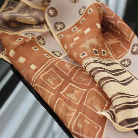 *SALE* ¥3456→¥2180* Silk scarf square -Brown&Gray