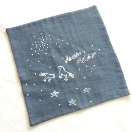 """handkerchief bib  """" Mongolia night """"  /  teal green"""
