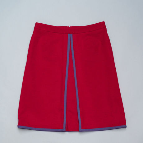 Piping Schoolgirl Skirt/ Red