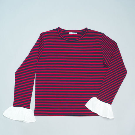 FRILLED SLEEVE T-SHIRT NAVY/ RED