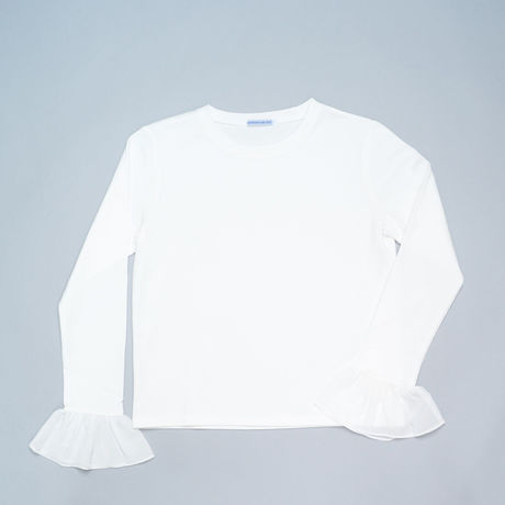 FRILLED SLEEVE T-SHIRTS WHITE