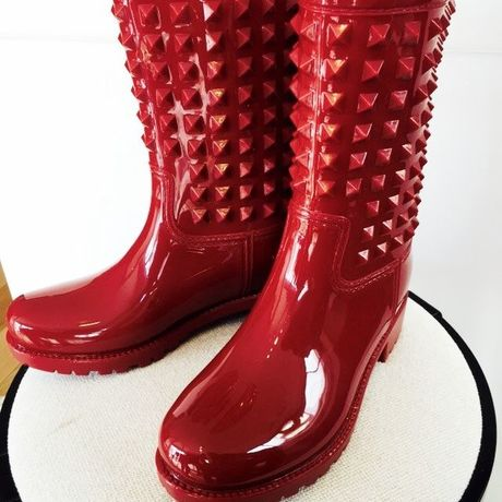 Wealo studs rain boots Red