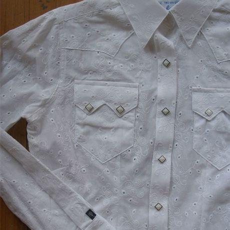 Women's Solid Western Dress Shirt レトロな専用ギフトBOX梱包済 RM7499-WHT-SML