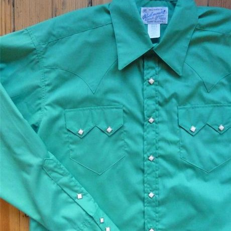 Classic Solid Cotton Blend Sawtooth Western Shirt レトロな専用ギフトBOX梱包済 RM641-JADE-SML