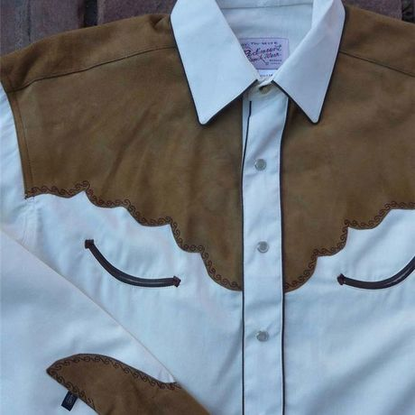 Genuine Leather 2-Tone Embroidered Western Shirt RM6850-IVO