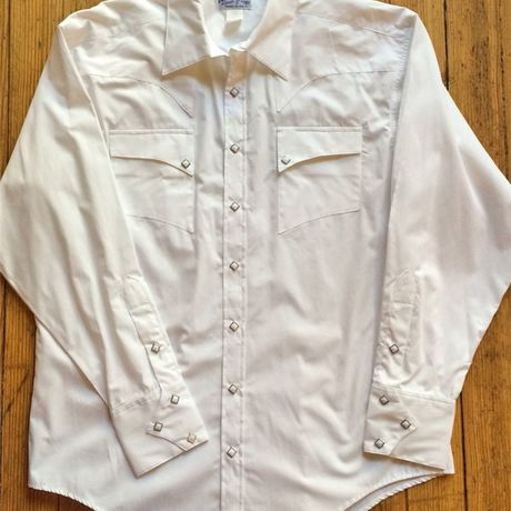 Solid Quarter Horse Pima Cotton Western Shirt レトロな専用ギフトBOX梱包済 RM6790-WHT-SML