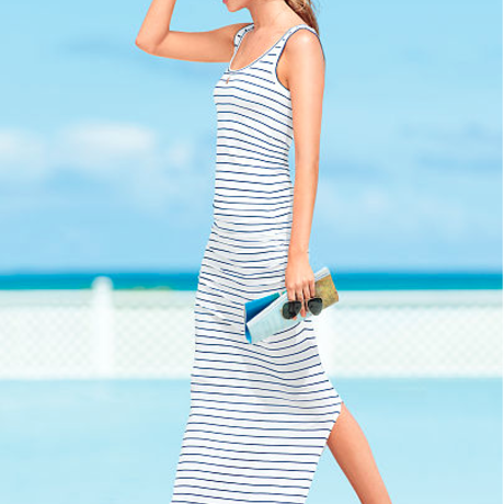 RUCHED MAXI DRESS : Navy/White Stripe