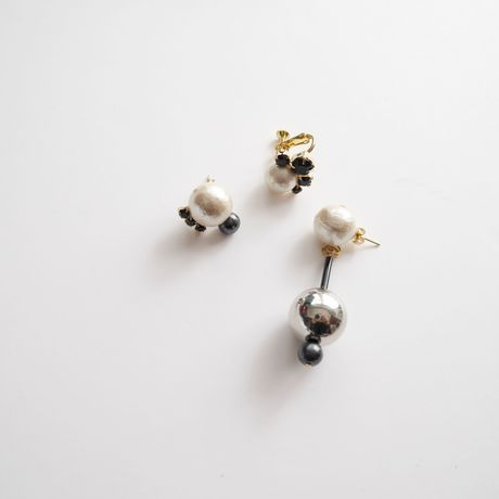 metal ball 3set pierce/earrings BLACK