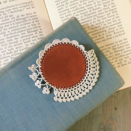 Leather&Crocheted lace Brooch