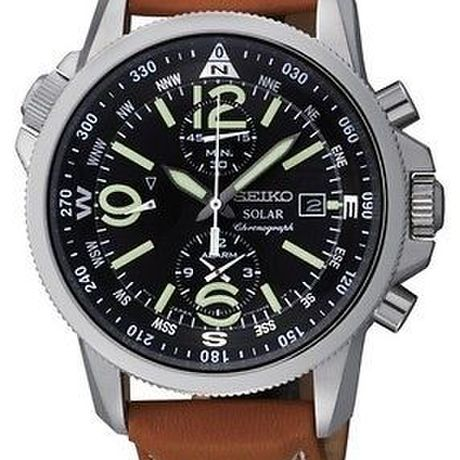 Seiko SSC081 Mens Solar Alarm Chronograph Steel Black Dial Leather Date Watch