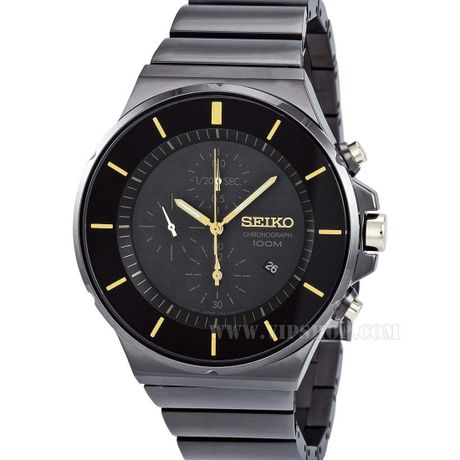 SEIKO SNDD57 MEN'S CHRONOGRAPH BLACK DIAL DATE BLACK ION PLATED ST.STEEL WATCH